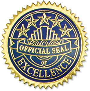 PaperDirect Embossed Excellence Foil Certificate Seals, 102 Pack (Gold and Blue)