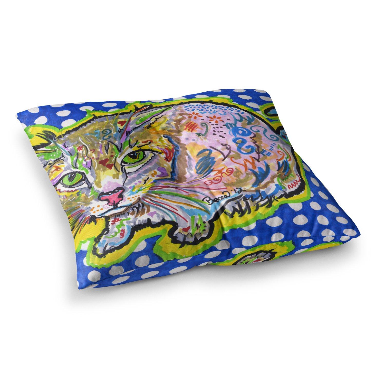 Kess InHouse Rebecca Fischer Abraham Blue Yellow 23 x 23 Square Floor Pillow