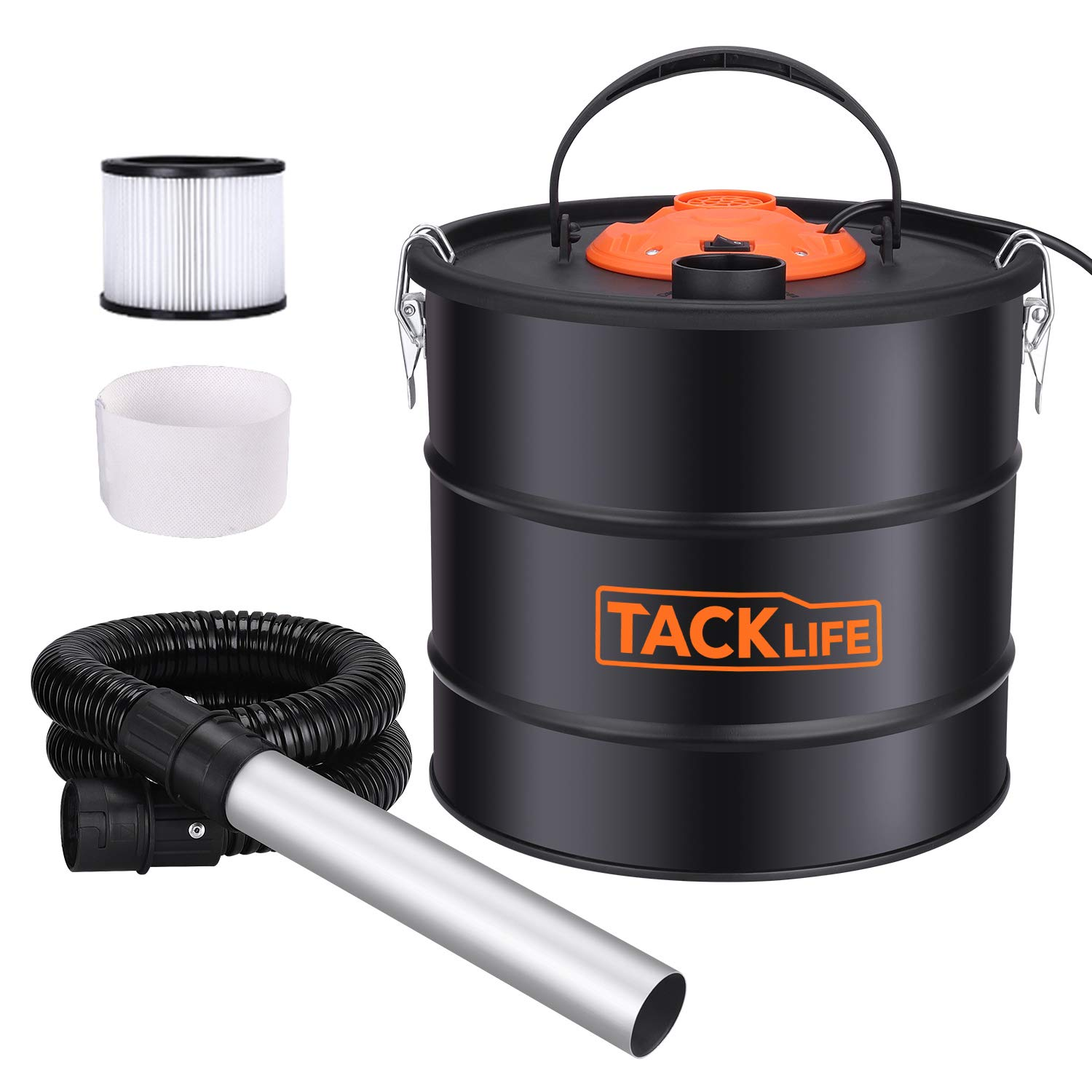 Ash Vacuum, TACKLIFE 800W Ash Vacuum Cleaner Ash VAC Canister 5 Gallon Capacity Bagless Debris/Dust/Ash Collector, Suitable for Fire, Log Burners, Stoves-PVC03A by TACKLIFE
