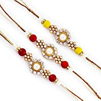 Aapno Rajasthan Set of 3 Pearl & Ad Embellished Fancy Rakhi