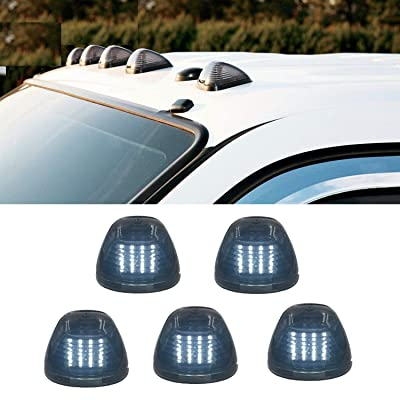 16LED Smoked Lens with Cold White Cab Roof Top Marker Clearance Running Lights Assembly For 2002-2016 E/F Super Duty Pickup Truck (White): Automotive