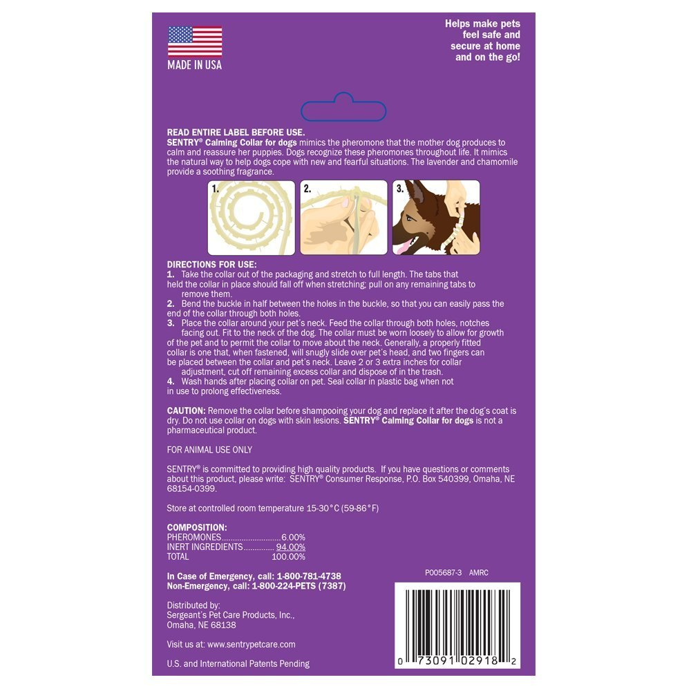 Sentry Calming Collar for Dogs, Economy 3-Pack, New,, purple by Sentry (Image #4)