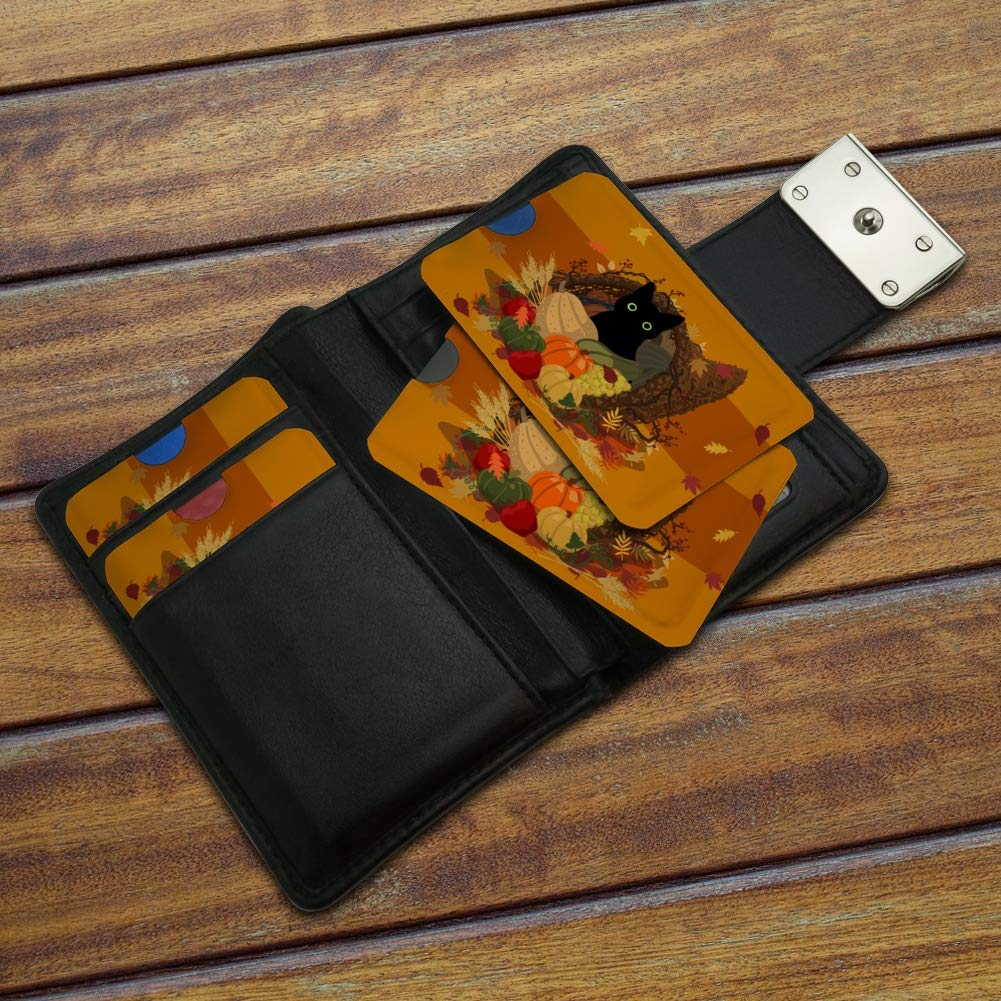 Thanksgiving Black Cat Hiding In Cornucopia with Pumpkins Credit Card RFID Blocker Holder Protector Wallet Purse Sleeves Set of 4