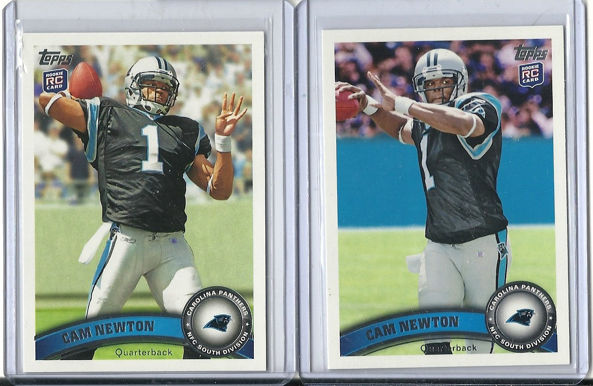 2011 Topps 200 Cam Newton Rookie Card Variation 2 Card Lot At