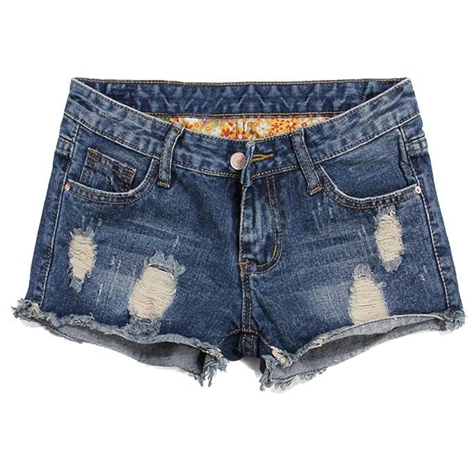 7c862de65e6 Blostirno Women's Denim Shorts Cuffed Short Jeans Pants High Waisted  (Flowery ...