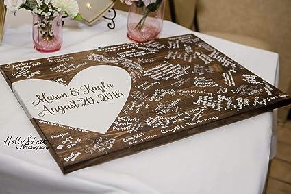 3e5b6fe8c9829 Amazon.com: Burkewrusk Alternative Wedding Guest Book Wood Guest ...
