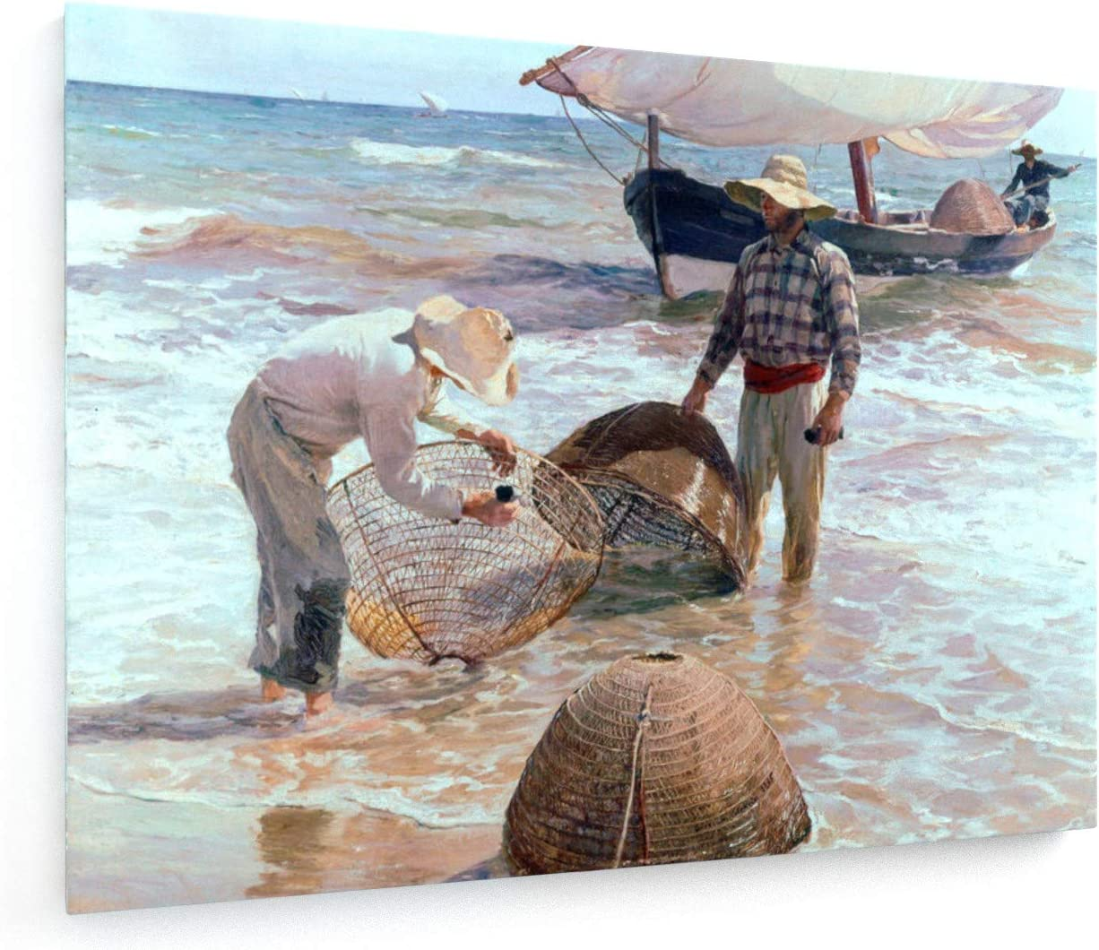 Joaquín Sorolla - Los Pescadores valencianos - 40x30 cm - Impresion en Lienzo - Muro de Arte - Canvas, Cuadro, Poster - Old Masters/Museum