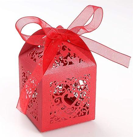 UNHO 25 Piezas Caja Papel para Boda Caja de Regalo para Caramelos Bombones Dulces Galletas Recuerdos Ideal para Boda Cumpleaños Fiesta Comunión Bautizo Color Rojo: Amazon.es: Hogar