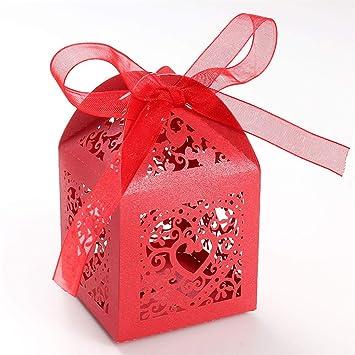 UNHO 25 Piezas Caja Papel para Boda Caja de Regalo para Caramelos Bombones Dulces Galletas Recuerdos Ideal para Boda Cumpleaños Fiesta Comunión Bautizo ...