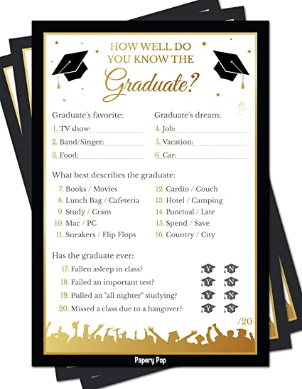 2019 How Well Do You Know the Graduate Game Cards (50 Pack) - Graduation  Party Games Ideas Activities Supplies - Grad Celebration - High School or