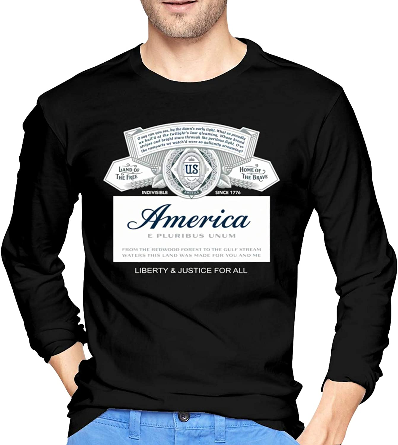 Budweiser America Land of The Free Home of The Brave Men's T-Shirt Top Long Sleeve Casual T Shirt