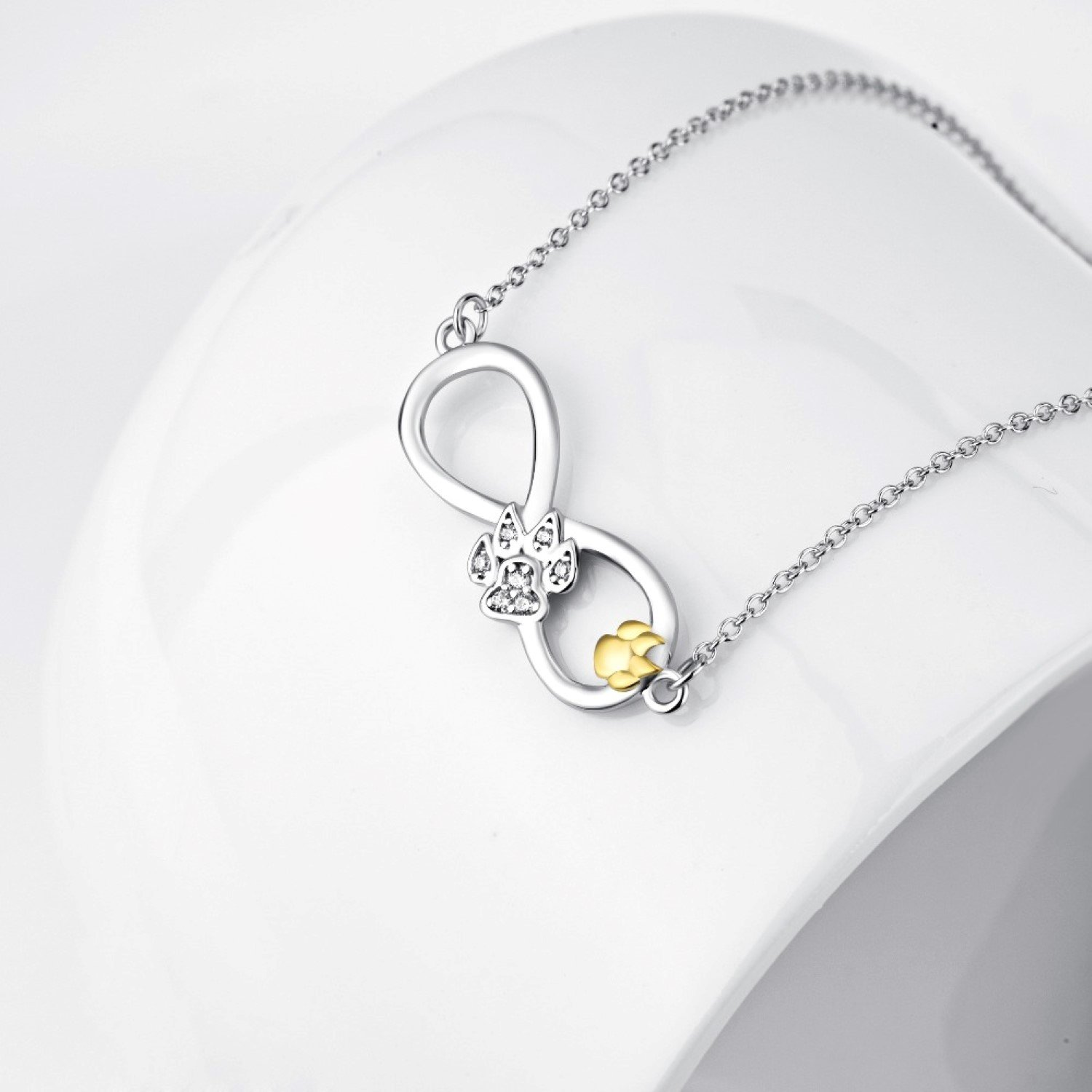 CS-DB Womens Necklaces by Silver Pendant Infinity Love Crystal CZ Gold Dog Paw Print Charm Girls