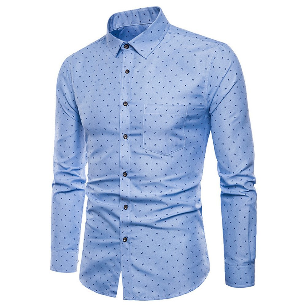Men's Formal Casual Long Sleeve Blouse ,Stretch Solid Button-Down Work Shirt with Pocket (Blue, L)