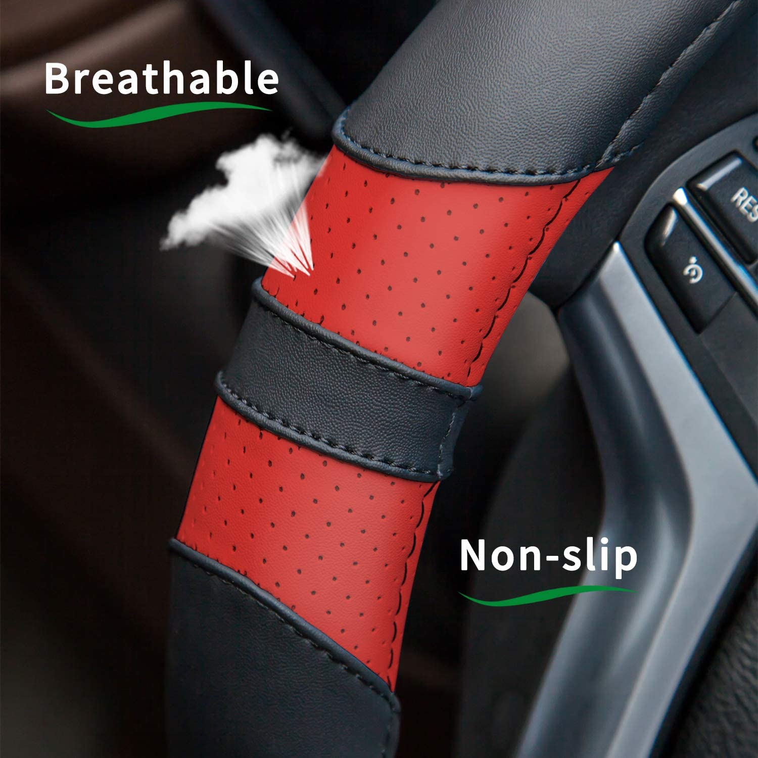No Smell Suitable for Every Season Achiou Universal Car Steering Wheel Cover 15 inch with Grip Contours Leather Auto for Men and Women Non-Slip