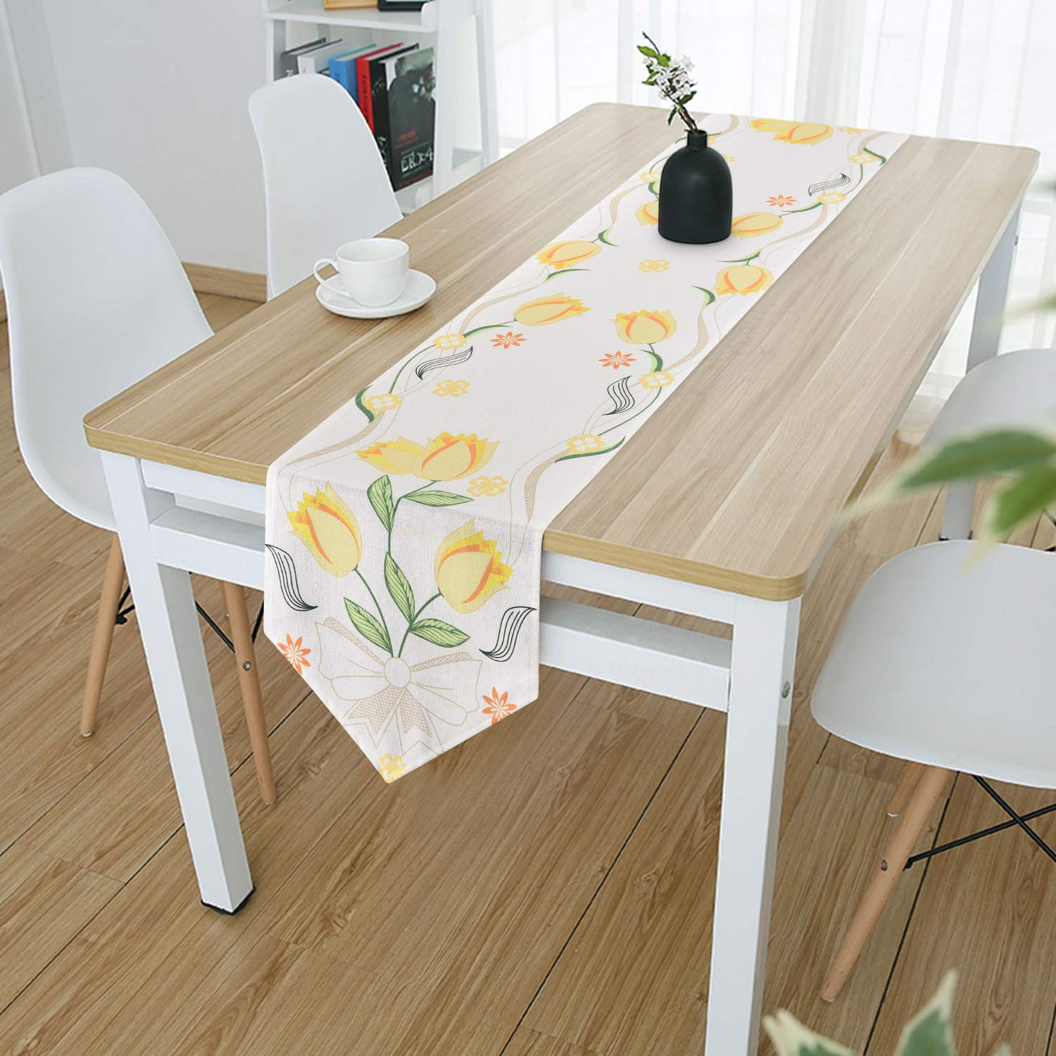 Smurfs Yingda Tulip Flowers Table Runner Yellow Floral Plant Table Runner for Catering Events, Indoor and Outdoor Parties, Daily Use, 12' × 70'