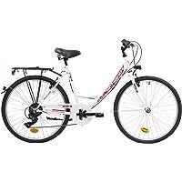 F.lli Schiano Elegance, Bici MONOTUBO Donna, Bianco-Rosso, 26''