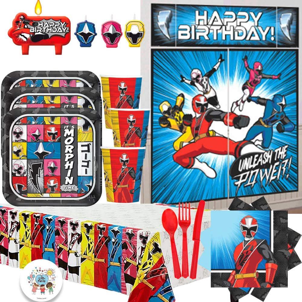 Power Rangers Ninja Steel Deluxe MEGA Birthday Party Supply Pack For 16 With Dessert Plates, Napkins, Cups, Tablecover, Candle, Scene Setter, Cutlery, and Exclusive Pin By Another Dream!