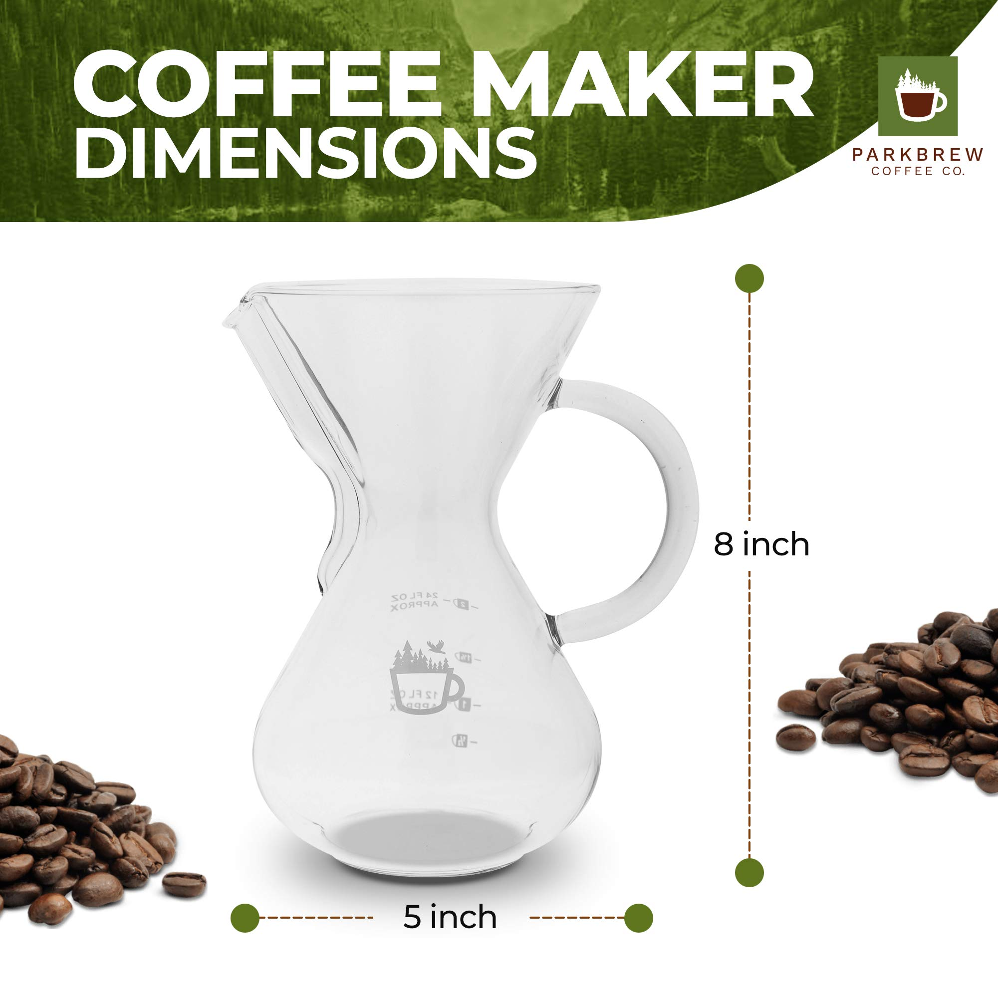ParkBrew Pour Over Coffee Maker – kit includes coffee carafe (up to 27 fl. oz.), reusable coffee filter or coffee dripper, carafe lid, and double wall glass coffee mug by ParkBrew Coffee Co. (Image #5)