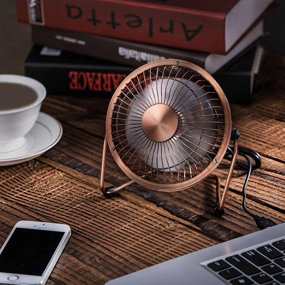 4 inch-Bronze Wsobue Mini USB Personal Fan,Ultra Quite Desk Metal Fan with Enhanced Airflow,360/°Rotating,Desktop Small Portable Cooling Fan for Home Office