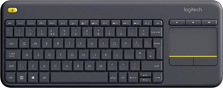Logitech K400 Plus Teclado Inalámbrico con Touchpad para Televisores, Disposición QWERTY Inglés, Negro