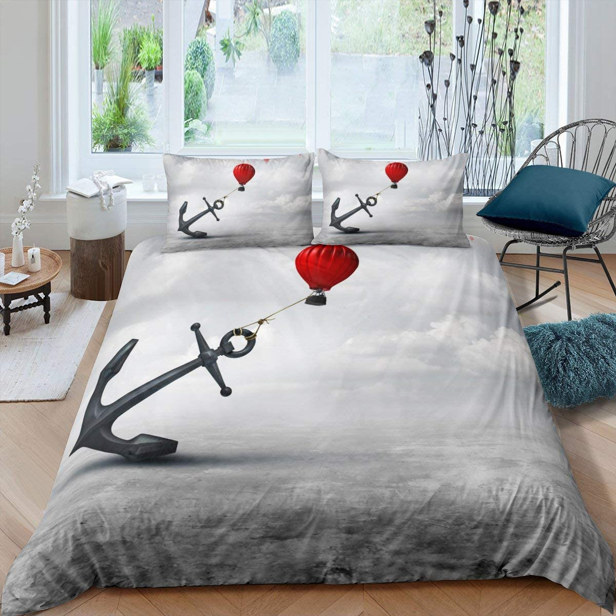 Anchor Duvet Cover Set King Size, 3 Pieces Nautical Anchor Comforter Cover with Red Hot Air Balloon Decor Bedding Set, Adult Women Girls Ship Anchor Marine Life Decorative Soft Bedding Quilt Cover
