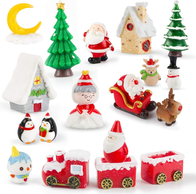 Ponwec 19pcs Christmas Miniature Ornaments Kit 3D Miniatures Figurines Mini Christmas Theme Resin Crafts DIY Snow Globes Miniature for Snowy Winter Fairy Garden Dollhouse Decoration
