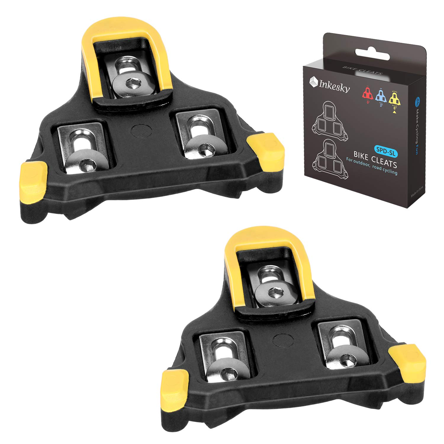 Inkesky Bike Cleats SPD-SL for Road Cycling - Compatible with Shimano SM-SH11 - Yellow by Inkesky