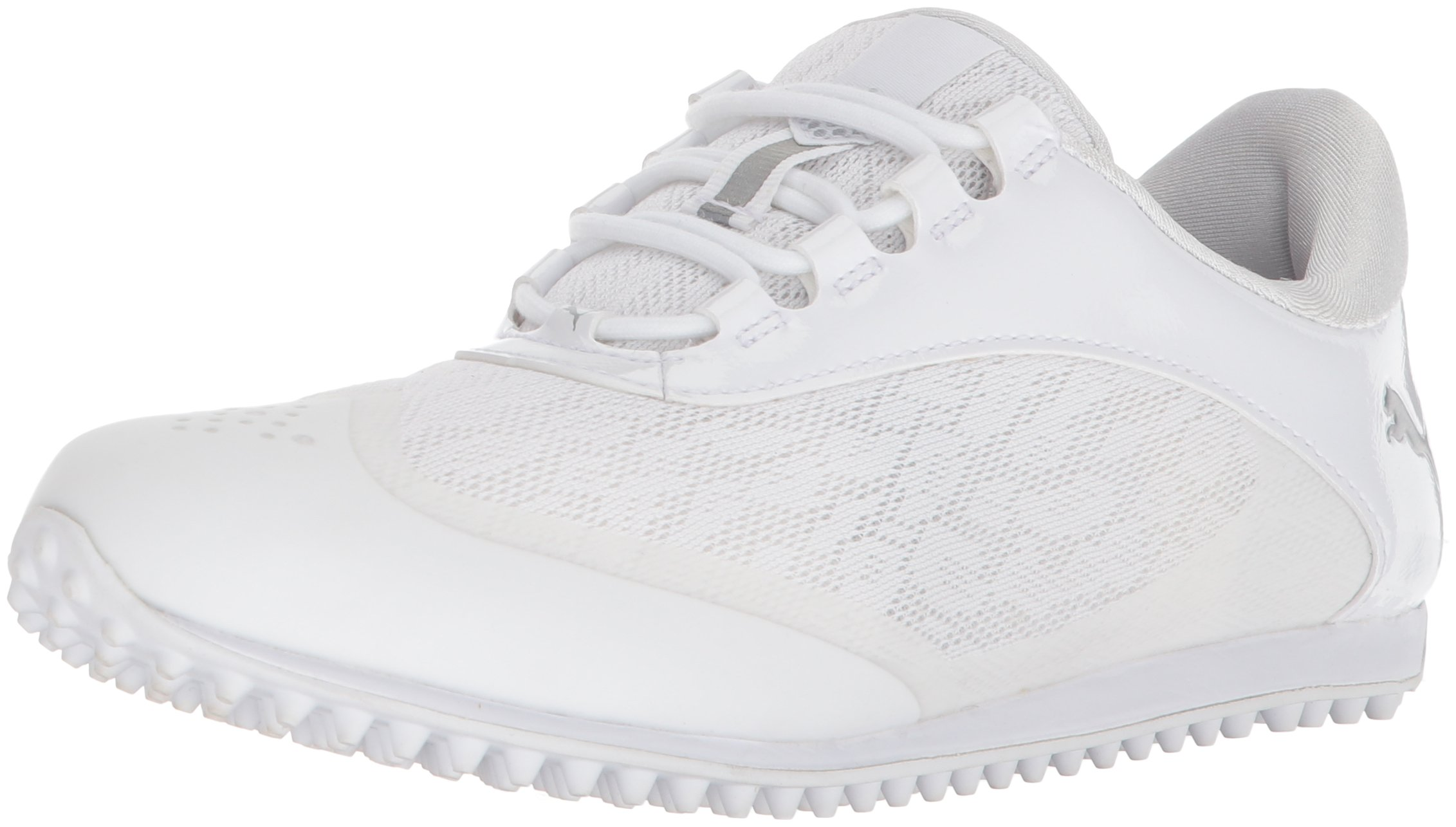 PUMA Golf Women's Summercat Sport Golf Shoe, White/Silver/High Rise, 9.5 Medium US