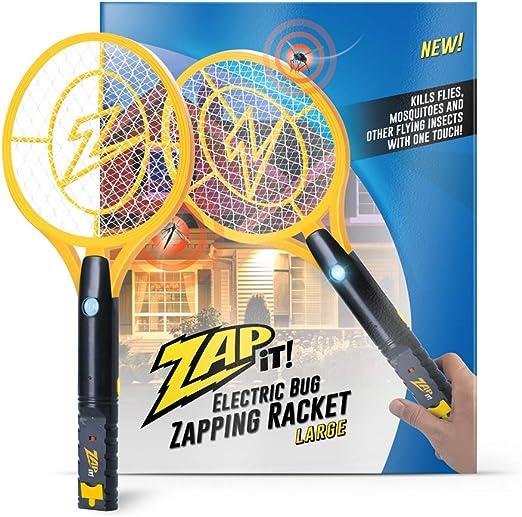 Zap-It! Bug Zapper - Raqueta de mosquito recargable, matamoscas y moscas - 4000 V - Carga USB, luz