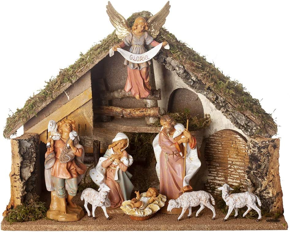 Handmade in Italy 7.5 Scale Detailed Fontanini Polymer Designed and Manufactured in Tuscany Hand Painted 9 pc Italian Nativity Set Collection Italian