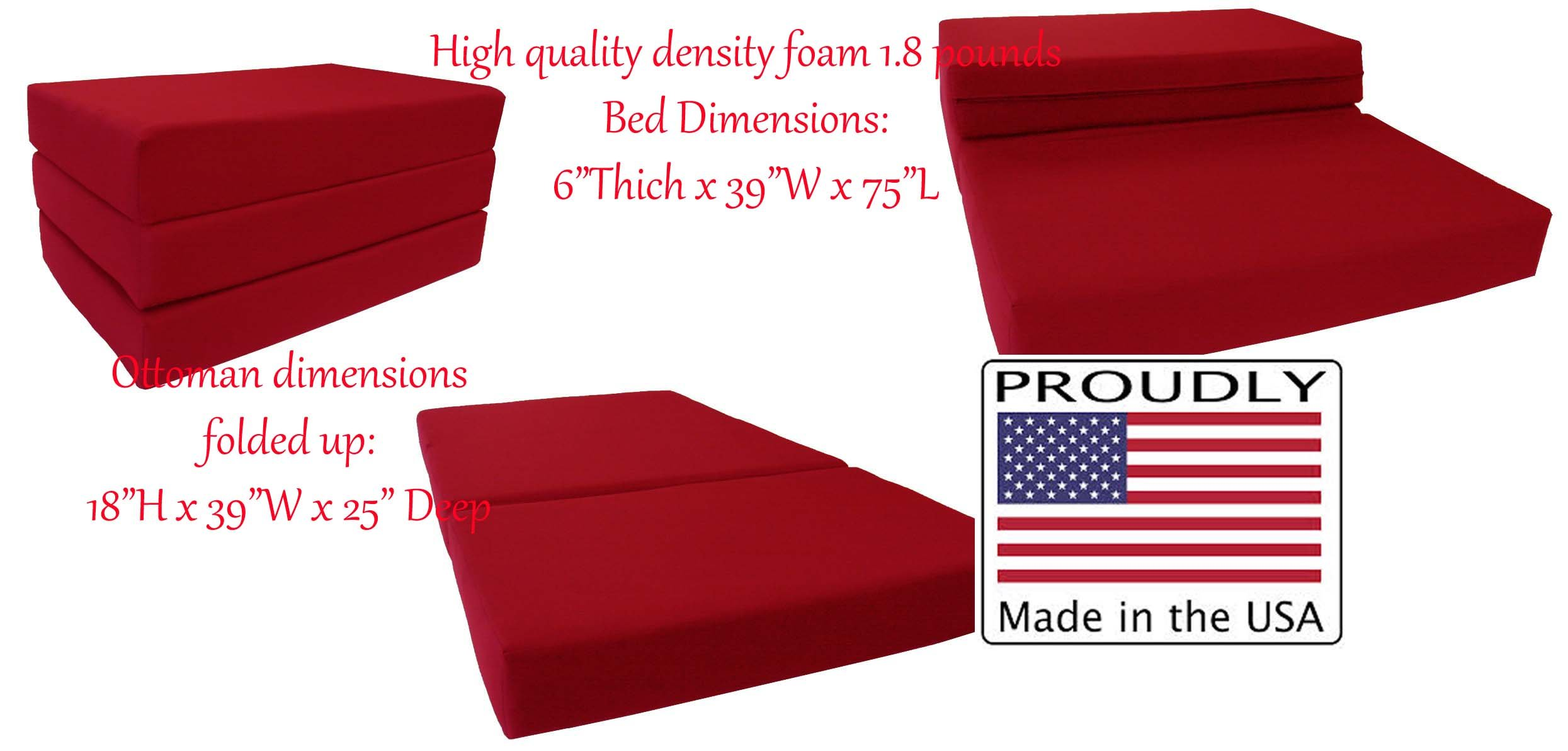 Red Solid Twin Size Shikibuton Trifold Foam Beds 6 Thick x 39 W x 75 inches Long, 1.8 lbs high density resilient white foam, Floor Foam Folding Mats.