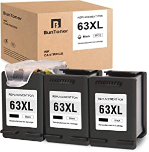 BUNTONER Remanufactured Ink Cartridges Replacement for HP 63 63XL use with HP OfficeJet 3830 4650 4655 5255 DeskJet 1110 2130 3630 Envy 4510 4511 4512 4520 (3 Black Cartridges, 1 Print Head)