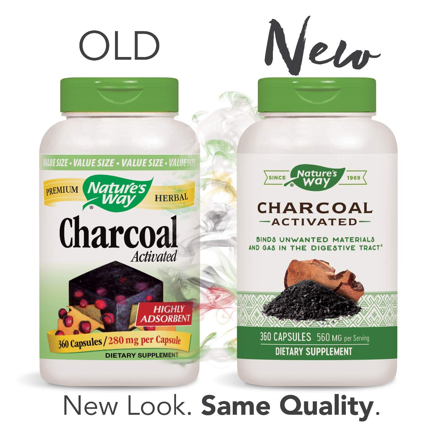 Nature's Way Charcoal Activated; 560 mg Charcoal per serving; 360 Capsules (Packaging May Vary) by Nature's Way (Image #2)