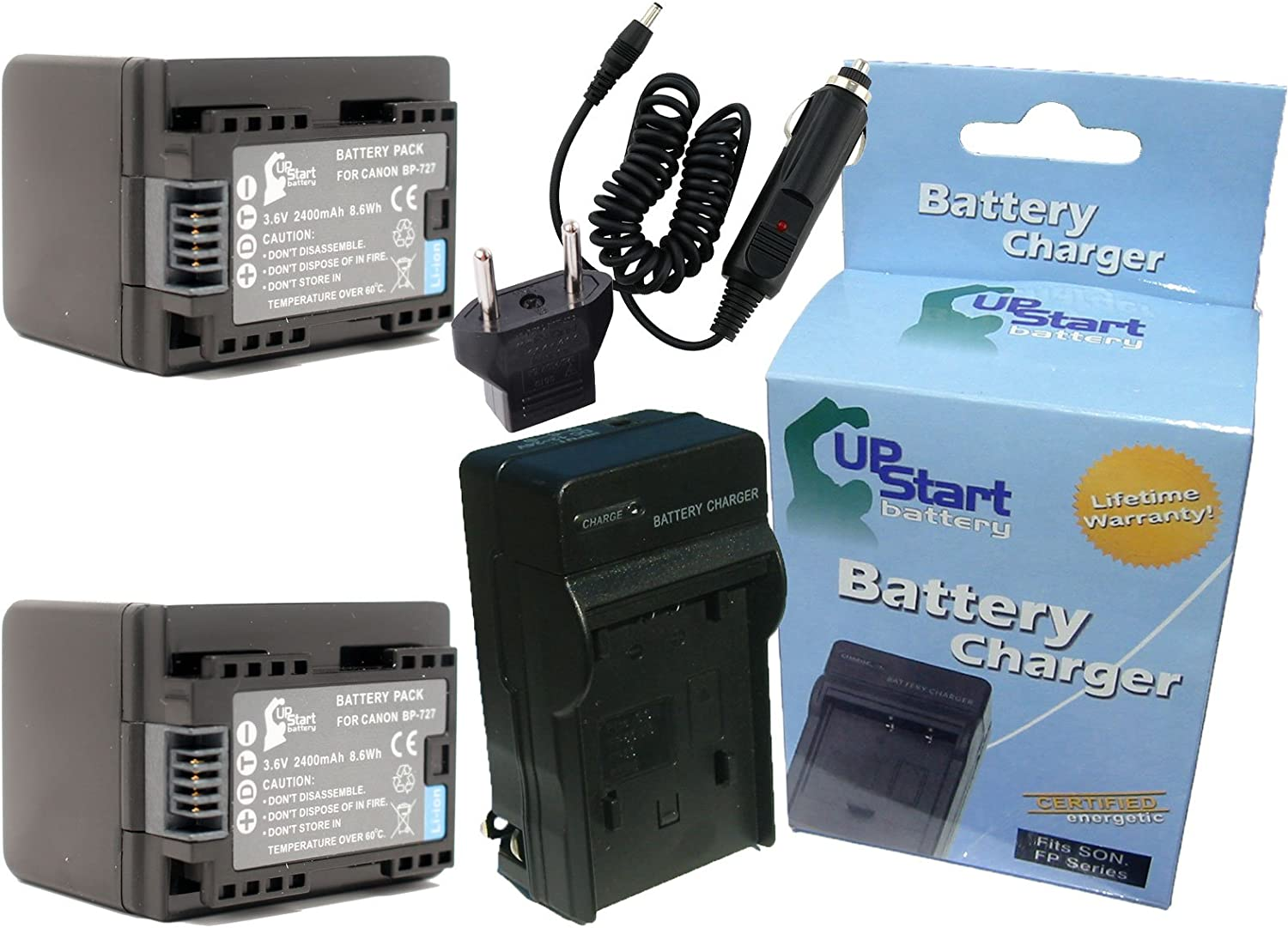 2 Pack Replacement for Canon HF R600 Battery 2400mAh 3.6V Lithium-Ion Charger with Car /& EU Adapters Compatible with Canon BP-727 BP-718 Digital Camcorder Battery and Charger