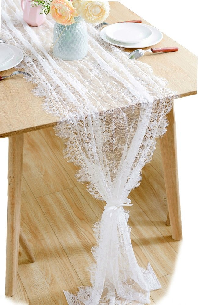 BOXAN 30x120 Inch White Classy Lace Table Runner/Overlay with Rose Vintage Embroidered, Rustic Boho Wedding Reception Table Decor, Fall Thanksgiving Christmas Baby & Bridal Shower Party Decoration by BOXAN (Image #6)