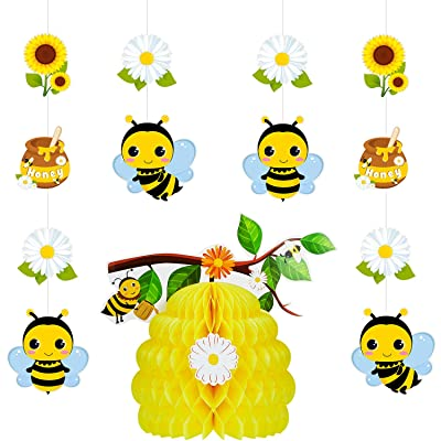 5 Pieces Bee Party Decorations Bumble Honeycomb Centerpiece Flower Honey Hanging Decorations for Birthday Party Baby Shower Decoration: Toys & Games