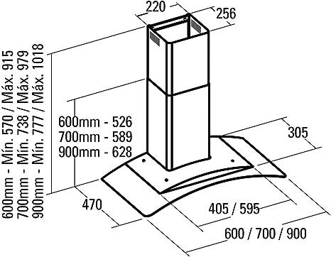 CATA C Glass 900 - Campana Decorativa Con 3 Velocidades: 161.95: Amazon.es: Grandes electrodomésticos