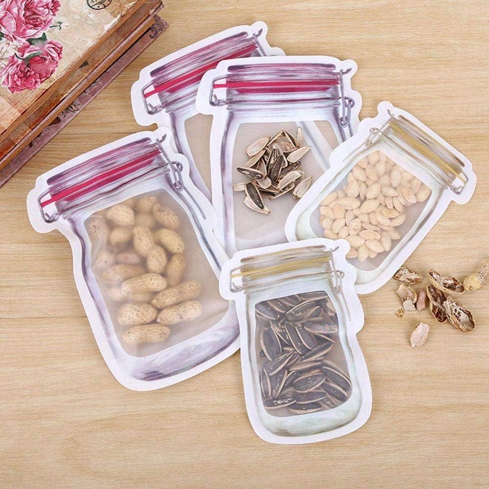 Mason Jar en forme de sacs de rangement r/éutilisables herm/étiques et /économes en nourriture Snack r/éutilisables Sandwich Ziplock Bags Noix Cookie Biscuit scell/és Candy Fresh Bags anti-fuites Pack 12//6