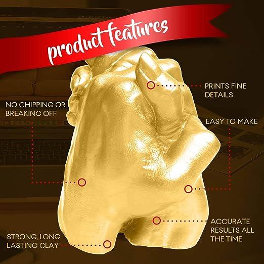 Premium 3D Kit para Escultura Realista de Las Manos con Pintura Dorada - Fácil de Hacer, Fuerte y Duradero Hand Casting Kit - Regalo para Parejas, ...