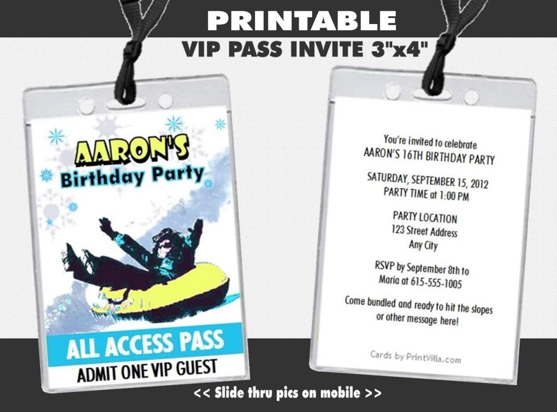 Amazon.com: Snow Tubing Birthday Party VIP Pass Invitation ...