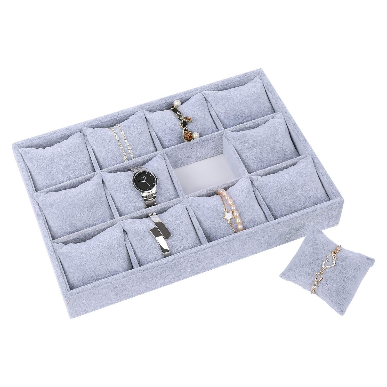 STYLIFING Watch Tray Showcase Display Organizer Holder Storage Necklace Bracelet Stackable 12 Grid Pillows Grey Velvet