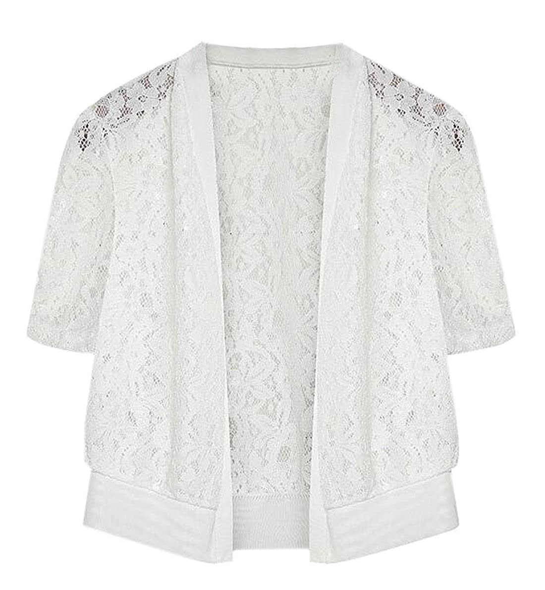 LD Womens Floral Lace Short Sleeve Summer Shrug Open Front Cardigans