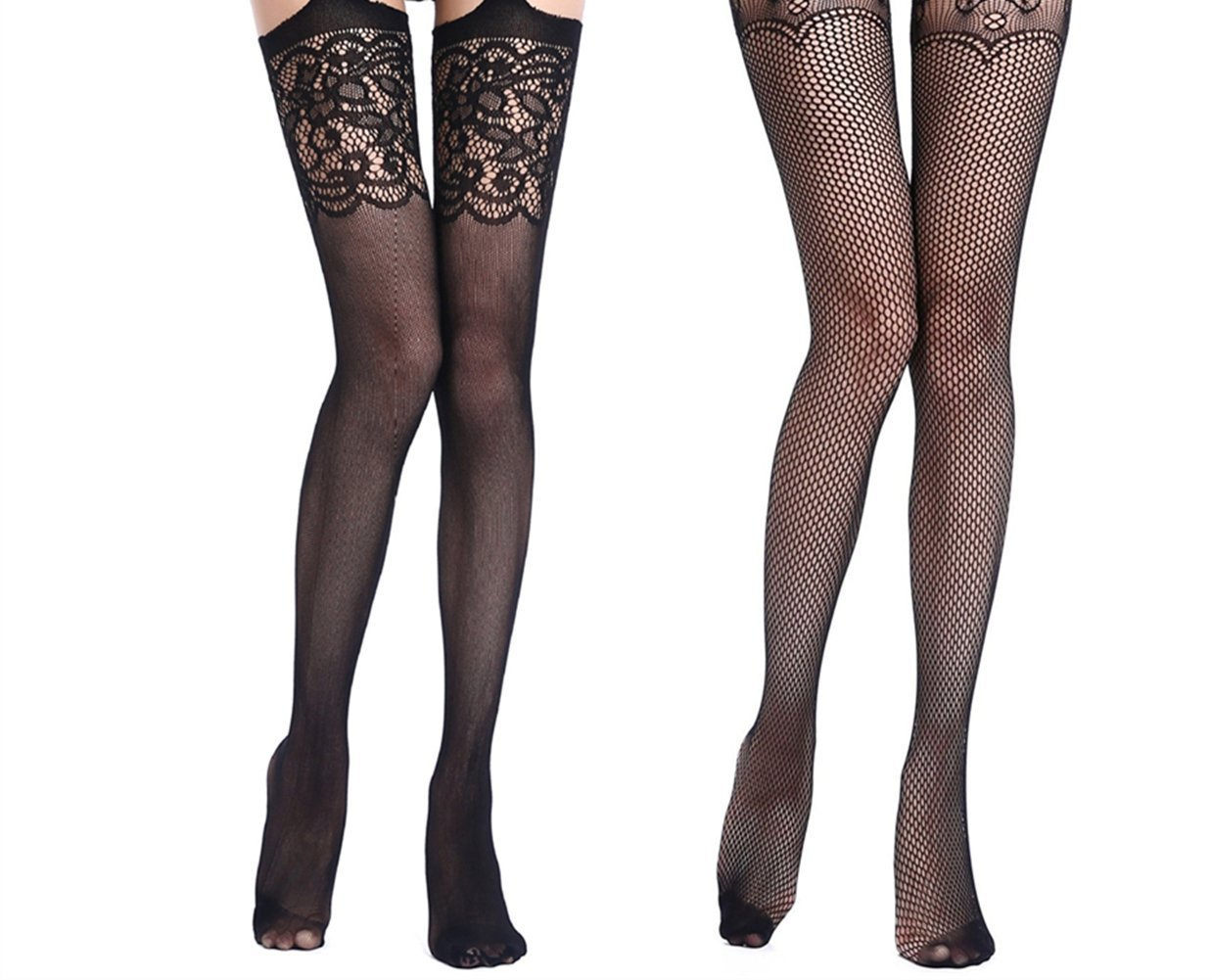 ZIUMUDY Women's Fishnet Tights Pantyhose Stretchy Thigh-High Stockings Black