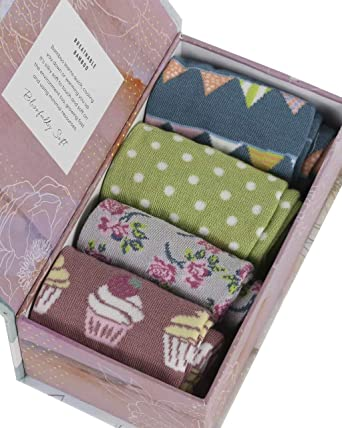 Solid Colours Gift Box4 pairs of plain bamboo organic crew socks