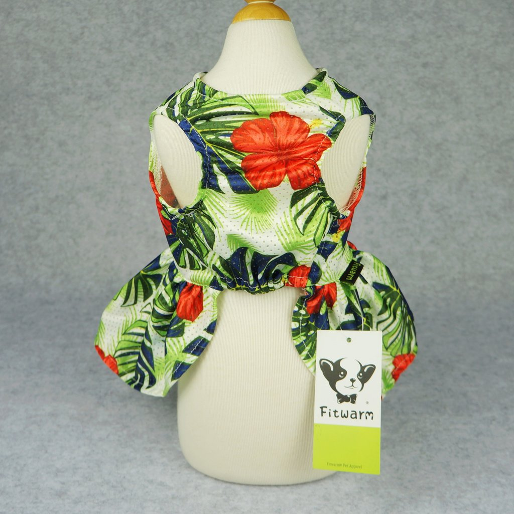 Fitwarm Hawaiian Palm Dog Clothes Dresses Vest Shirts Pet Cat Apparel Green