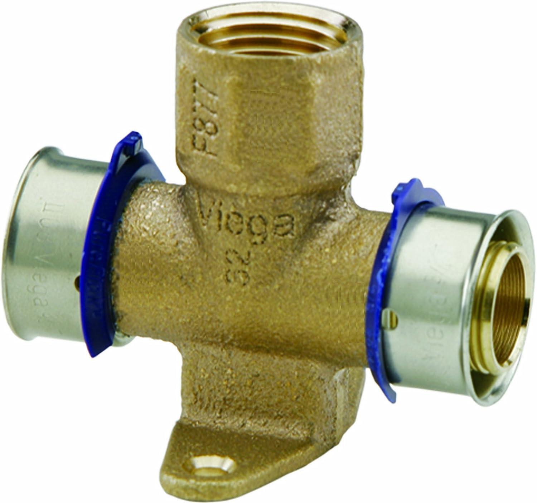 Viega 94639 Viega PureFlow Zero Lead Bronze PEX Press Fire Sprinkler Tee with Female 1-Inch by 1-Inch by 1//2-Inch Press x Press x Female NPT