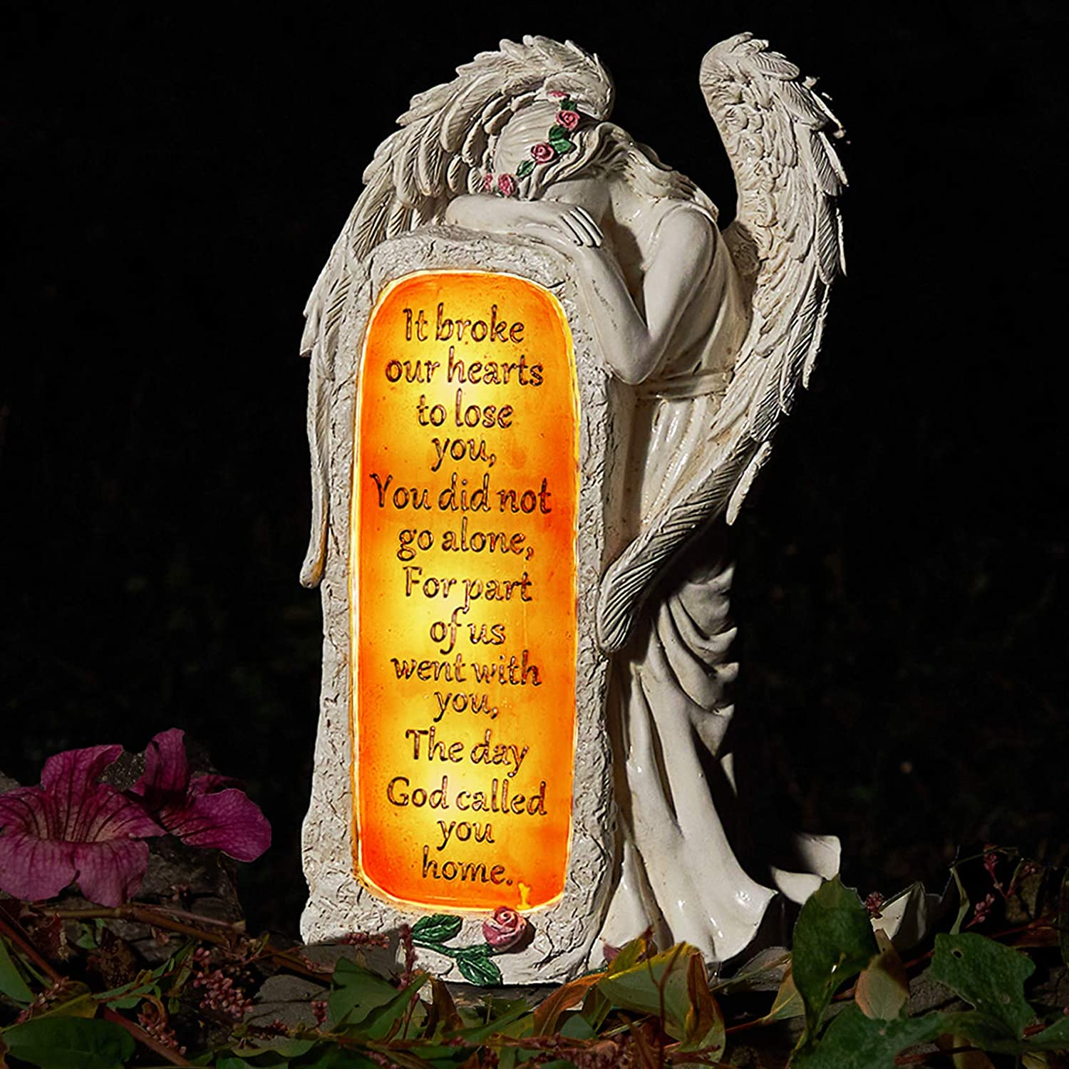 Angel Garden Statues Outdoor Decor, Solar Angel Figurines Lights for Garden Decoration Yard Art Memorial Gifts for Loss of Loved One