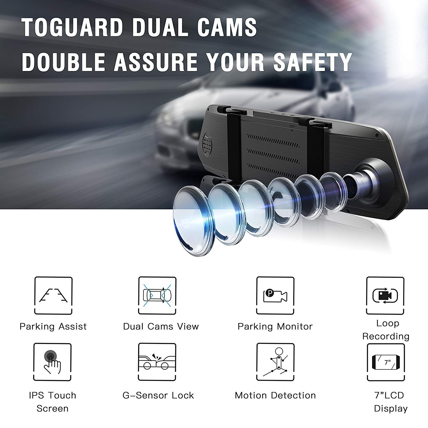TOGUARD Backup Camera 7 Mirror Dash Cam Touch Screen 1080P Rearview Front and Rear Dual Lens with