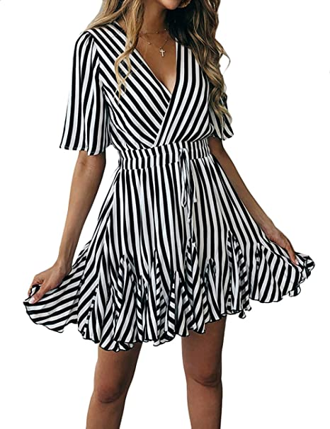 b9318de005 MuCoo Women s Sexy Deep V Neck Short Sleeve Striped Ruffle Hem Wrap A Line  Mini Dress