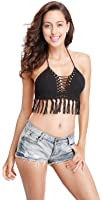 Women'Sexy Crochet Bralette Knit Tassel Top Beach Bikini Halter Crop Top